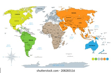 World map vector continents images stock photos vectors political world map on white background with every state labeled and selectable colored by gumiabroncs Choice Image