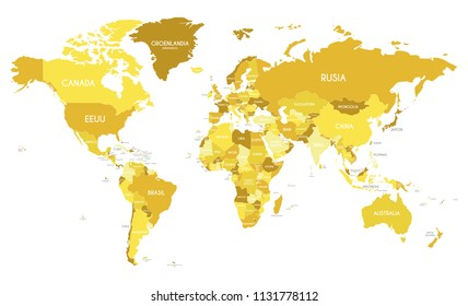 Africa continent images stock photos vectors shutterstock political world map vector illustration with different tones of yellow for each country and country names gumiabroncs Choice Image