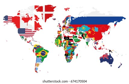Political World Map vector illustration with the flags of all countries. Editable and clearly labeled layers.