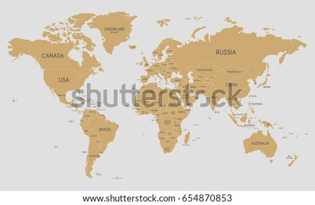 political world map vector illustration editable stock vector