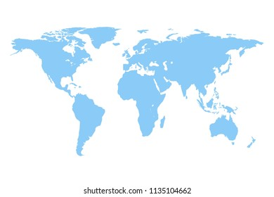 Political World map vector isolated on white background. Flat Earth. Similar World map template for web site pattern, anual report, inphographics. Globe blue worldmap icon.