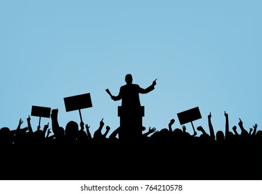 Politician and crowd on blue background