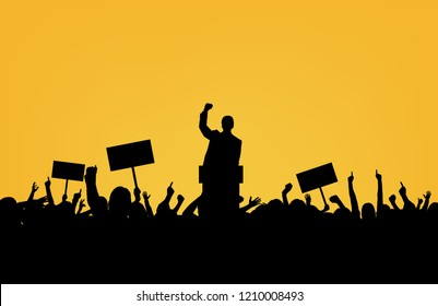 Politician with crowd silhouette