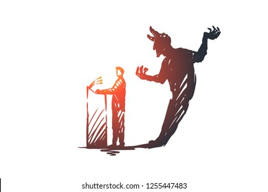 Politician, debate, elections vector concept. Politician speaking from podium with devil shadow behind. People with signs in hands taking part in rally. Hand drawn sketch isolated illustration