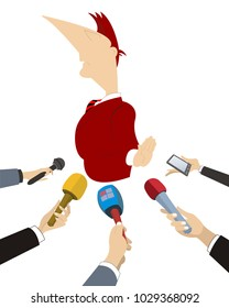 Politician does not want to give the interview to mass media illustration. Hands of reporters with microphones and a functionary who is refusing to answer the questions vector