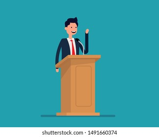 Politician gives a speech. Vector illustration business politics concept,   Happy cartoon flat style design.