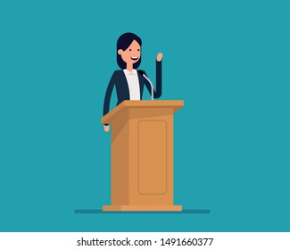 Politician gives a speech. Vector illustration business politics concept,   Happy cartoon flat style design.