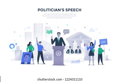 Politician giving speech during election campaign. Some people in the crowd support him, some oppose him. Flat illustration concept of politics and public speech