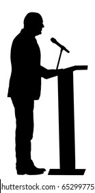 Politician man on meeting election campaign vector silhouette isolated. Ceremony vote event. Public speaker on podium.  Businessman speaking to public. Talking on microphone