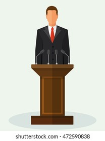 Politician man standing behind rostrum and giving a speech. Vector flat style colorful illustration