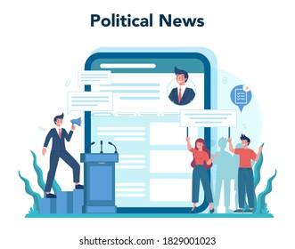 Politician online service or platform set. Idea of election and governement. Democratic governance. Political news. Isolated flat illustration