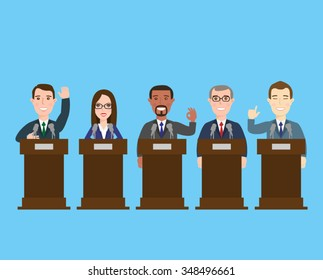 politician at the podium.international press conference concept