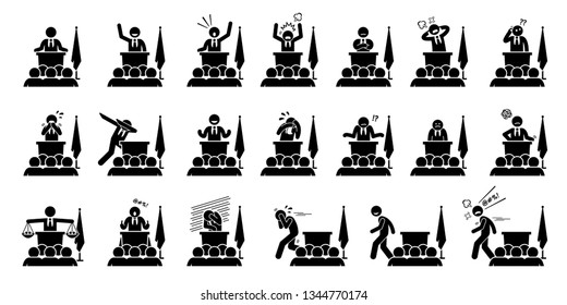 Politician, president, or prime minister actions, feelings, and emotions during his speech. Artwork depicts set of different poses and body languages by a government leader of a country.