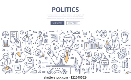 Politician speaking at the pulpit. Doodle concept of politics, debates and electoral process for web banner, hero images and printing materials