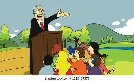 Politician speaking at the rally it is empty campaign promises pop art retro style. Blah blah blah words of falsehood. Contemporary politics and public opinion leaders. The candidate for the election