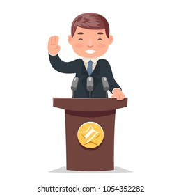 Politician tribune performance character businessman cartoon design vector illustration