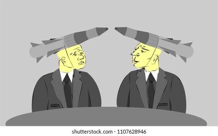 Politicians and ABM Treaty. Vector illustration.