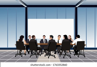 Politicians or corporate officers group authority people talks sitting at round table. Big war room. Negotiations conversation conference hall, boardroom or meeting room. Flat vector