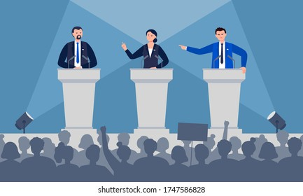 Politicians are discussing on stage. Debates concept. Candidates speech in front of the crowd people. Flat vector illustration.