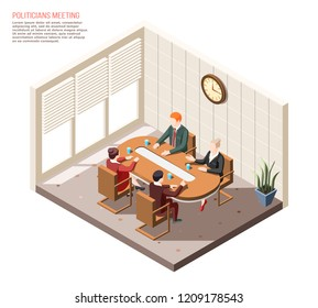 Politicians during conversation at meeting in conference room isometric composition vector illustration