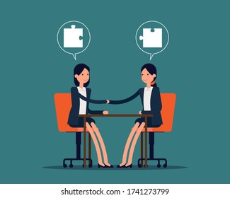Politicians handshaking with matching jigsaw puzzle pieces in speech bubbles. Business deal or success agreement. Vector illustration in cartoon style