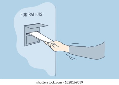Politics, election, america, voting concept. Man voter citizen hand putting absentee sheet of paper with chosen president candidate in mailbox for ballots. United States of America elections 2020.