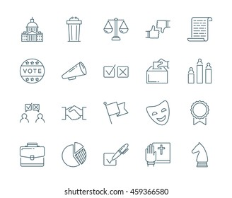 Politics and election vector icons set