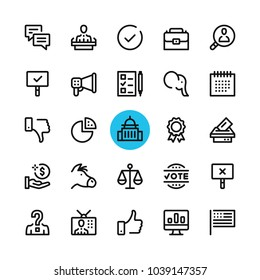 Politics, elections, government line icons set. Modern graphic design concepts, simple outline elements collection. 32x32 px. Pixel perfect. Vector line icons