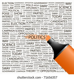 POLITICS. Highlighter over background with different association terms. Vector illustration.