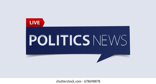 Politics news header isolated on white background. Breaking news Banner design template. Vector illustration.