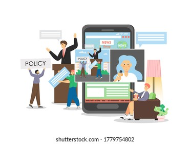 Politics and political news, vector flat illustration. Politician speaking in public presenting his policy speech gesturing behind rostrum. People following political news stories, videos on mobile.
