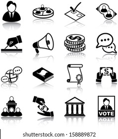 Politics related icons/ silhouettes.