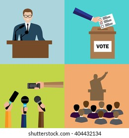 Politics, Voting and elections icons - vector icon set.  Transparency election and confidence social responsibility political campaign.