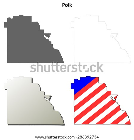 Polk County Florida Outline Map Set Stock Vector Royalty Free
