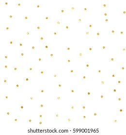 Polka Dot Confetti. Gold textured dots isolated.