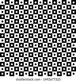 Polka dot design, alternating black and white squares with small dots, seamless geometric pattern design