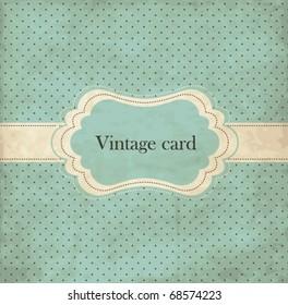 Polka dot design, blue vintage frame