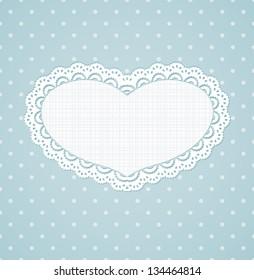 Polka dot design, vintage hearts frame. Blue eps10 vector background.