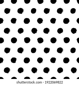 Polka dot grunge seamless vector pattern. Circle brushstrokes and rounded shapes. Hand drawn abstract ink background. Smears, circles, dots, splotches, blobs. Abstract wallpaper design, textile print