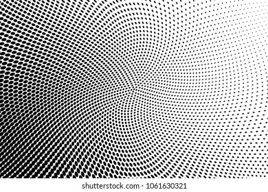Polka dot halftone pattern. Gradient dots background. Modern vector illustration. Abstract wave curves. Points backdrop. Dotted spotted pattern. Monochrome wavy grunge template