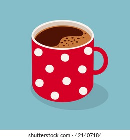 Polka dot mug of coffee. Vector illustration.