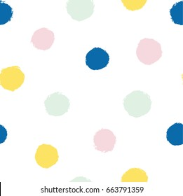 Polka dot pattern.  Hand illustrated seamless vector background. Simple, arty and colorful.