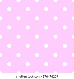 Polka dot pattern. Retro vector seamless background with white rounds on pink