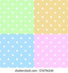 Polka dot pattern. Retro vector seamless set background with white rounds