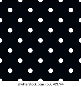 Polka dot pattern. Retro vector seamless background with white rounds on black