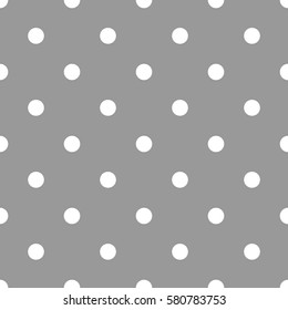 Polka dot pattern. Retro vector seamless background with white rounds on gray