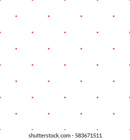 Polka dot pattern. Retro vector seamless background with red rounds on white