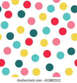 Polka Dot Pattern, Seamless Vector Background.