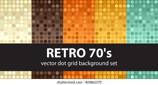 "Polka dot pattern set ""Retro 70's"". Vector seamless geometric dot backgrounds"