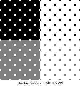 Polka dot pattern set. Retro vector seamless background with black and white rounds